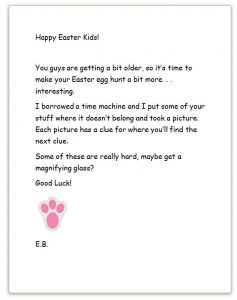Letter From the Easter Bunny for Egg Hunt