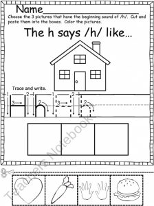 Letter H Cut and Paste Worksheet