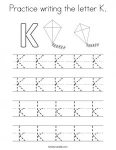 Letter K Writing Worksheets