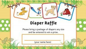 Lion King Diaper Raffle Tickets
