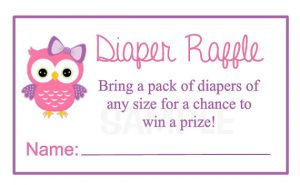 Owl Diaper Raffle Tickets