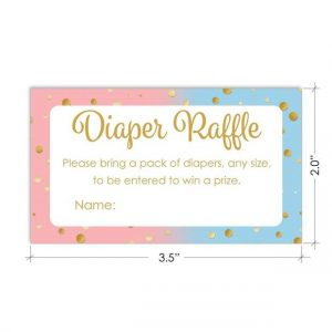 Pink Gold Blue Gender Reveal Diaper Raffle Tickets