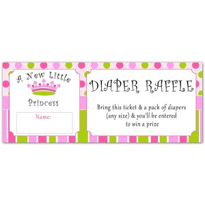 Princess Diaper Raffle Tickets
