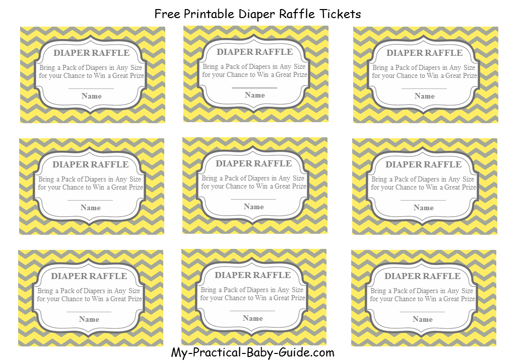 picture regarding Free Printable Tickets Template called 36 Adorable Diaper Raffle Tickets