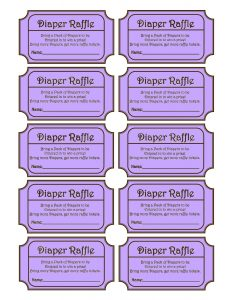 Purple Diaper Raffle Tickets