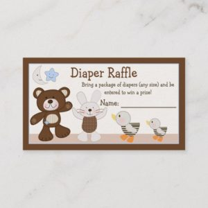Teddy Bear Diaper Raffle Tickets
