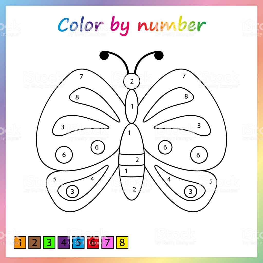 8 exciting butterfly color by number worksheets. Black Bedroom Furniture Sets. Home Design Ideas