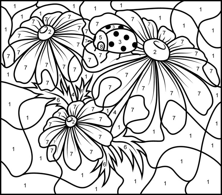 8 Flower Color By Number Worksheets | KittyBabyLove.com