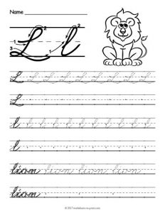 Cursive Letter L Worksheets