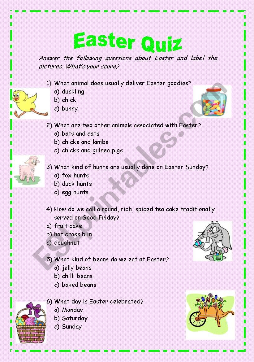 This is a photo of Clean Easter Trivia Questions and Answers Printable
