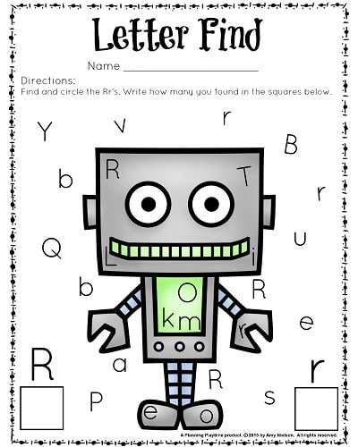 Find the Letter R Recognition Worksheet