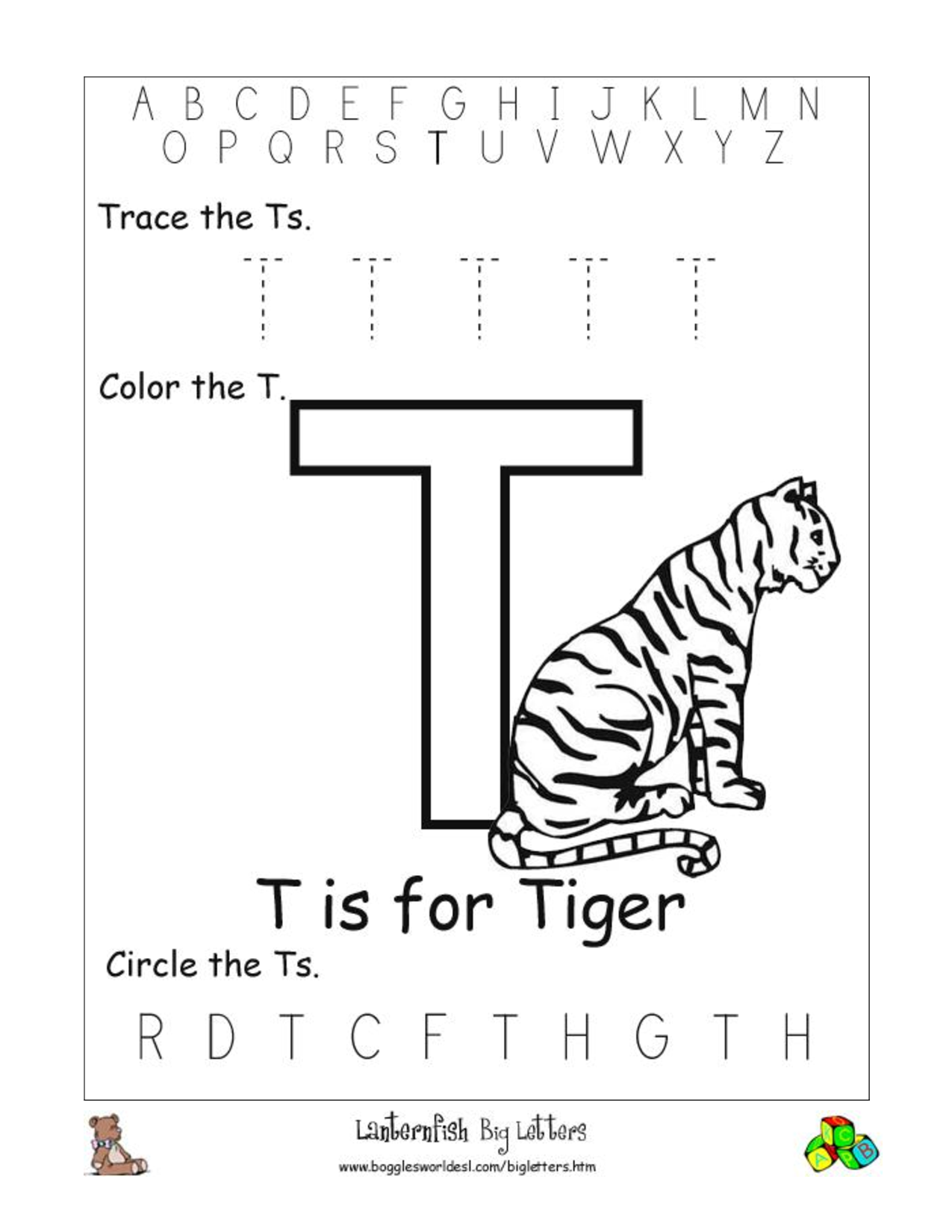 20 Learning the Letter T Worksheets | KittyBabyLove.com