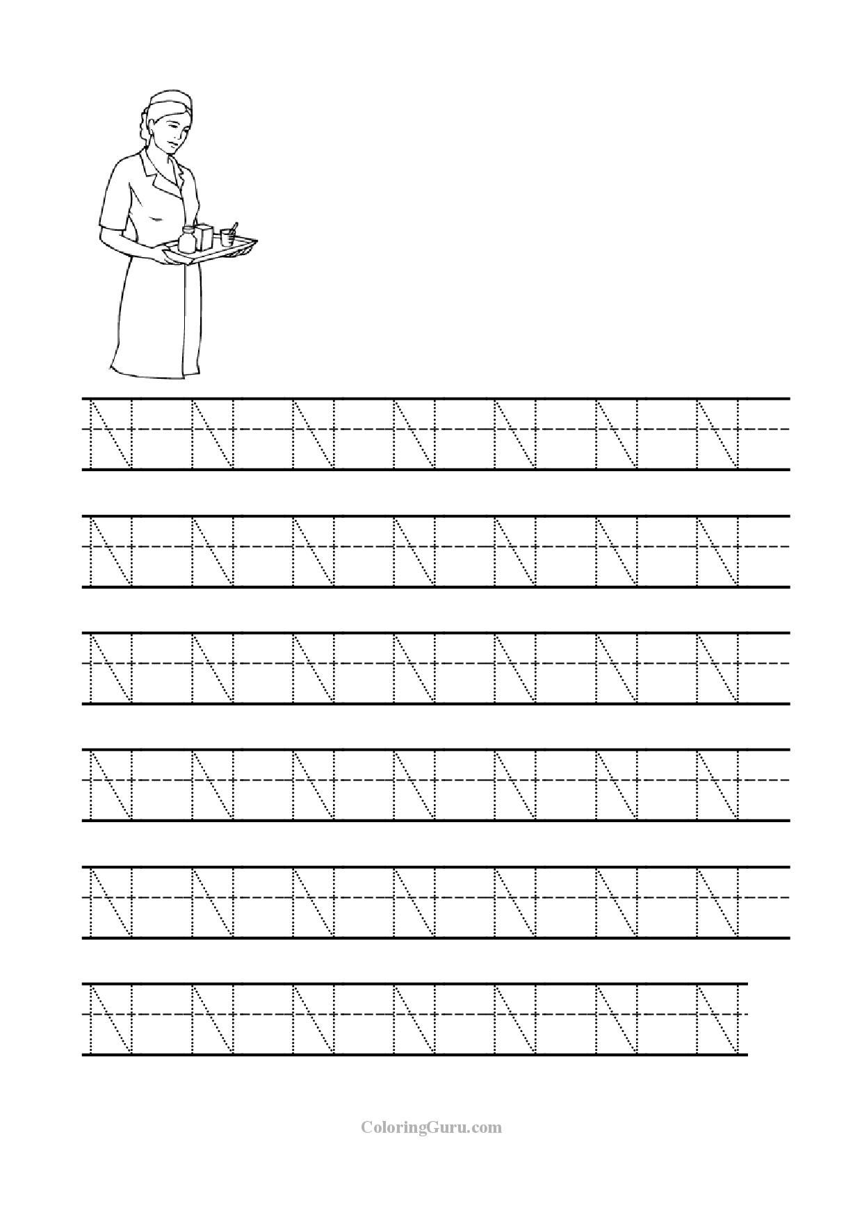 14 Interesting Letter N Worksheets for Kids | KittyBabyLove.com