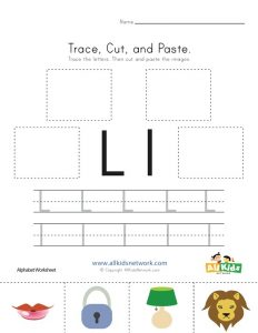 Letter L Cut and Paste Worksheet