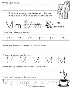 Letter M Handwriting Worksheets
