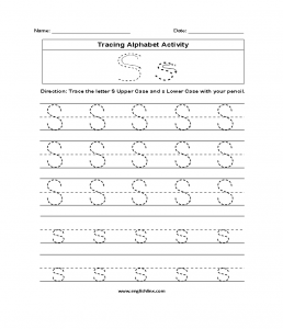 Letter S Writing Worksheets for Toddlers