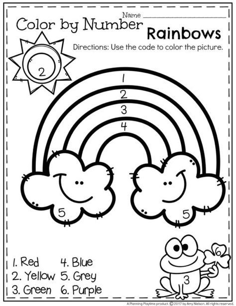 5 Rainbow Color By Number Printables for Kids ...