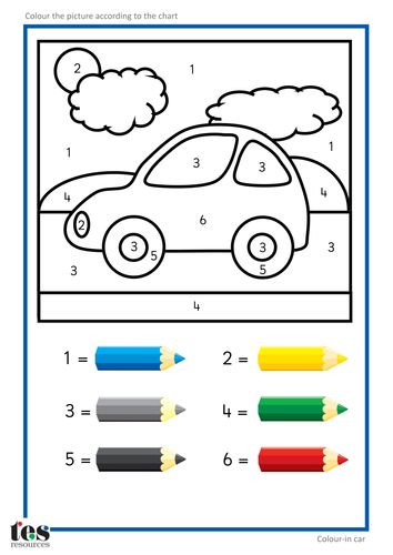 6 Color By Number Cars | KittyBabyLove.com