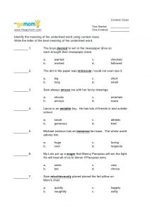 Context Clues Printable Worksheets 4th Grade