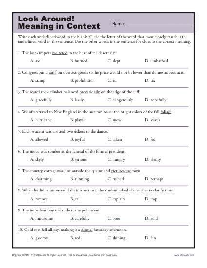 picture regarding Clue Printable Sheets titled 38 Intriguing Context Clues Worksheets