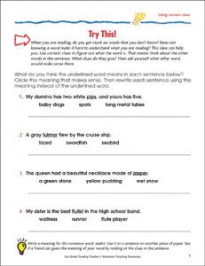 Easy Context Clues Worksheets