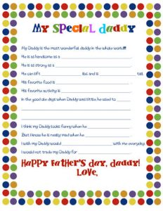 Father's Day Questionnaire Free Printable