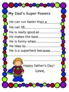 Father's Day Superhero Daddy Questionnaire