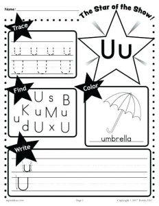 Free Kindergarten Letter U Worksheets