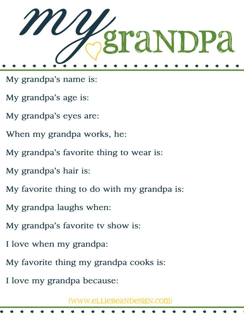 Current image for grandpa questionnaire printable