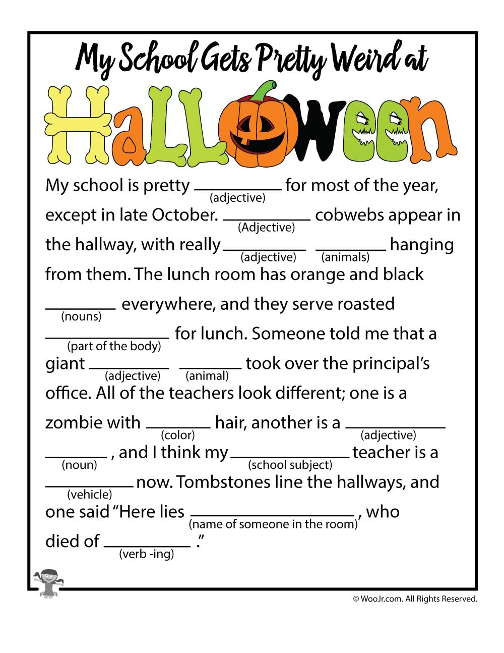 image regarding Halloween Mad Libs Printable Free identified as 13 Spooky Halloween Ridiculous Libs