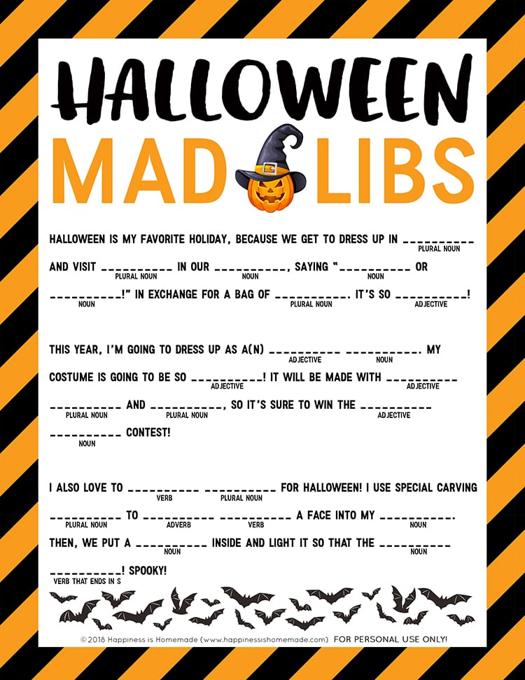 Halloween Mad Libs for First Graders