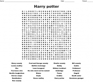 Harry Potter Printable Word Search