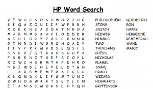 Harry Potter Things Word Search