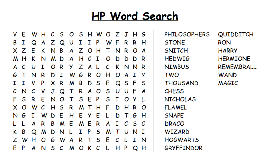 image relating to Harry Potter Word Search Printable referred to as 14 Magical Harry Potter Factors Term Appear Printables