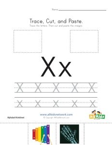 Letter X Cut and Paste Worksheet