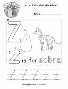 Letter Z Sound Worksheets
