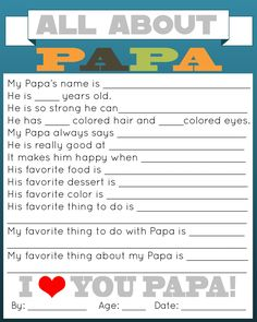 Papa Questionnaire for Father's Day