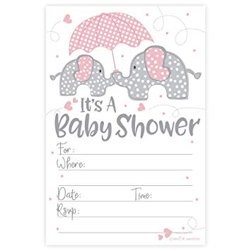 graphic regarding Printable Girl Baby Shower Invitations called 15 Elephant Child Showers Invites for Women of all ages
