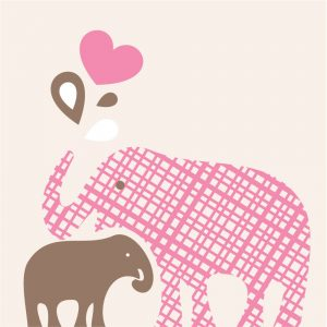 Pink and Brown Elephant Shower Invitations