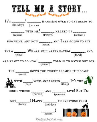 graphic regarding Halloween Mad Libs Printable called 13 Spooky Halloween Crazy Libs
