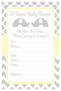Twin Elephant Baby Shower Invitations