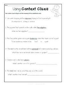 Using Context Clues Worksheet