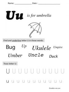 Worksheet Letter U