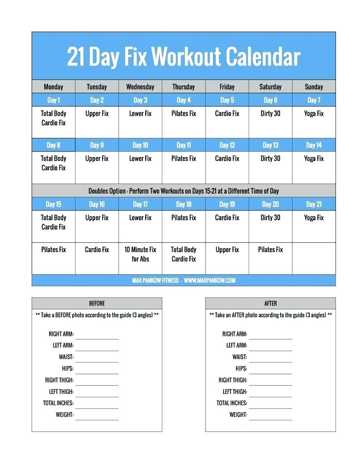 graphic relating to 21 Day Fix Workout Schedule Printable named 19 Utilitarian Exercise Calendar Templates