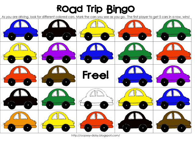 Car Color Bingo