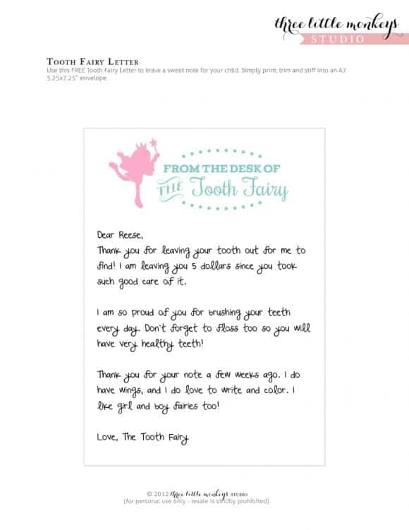 Punchy image throughout free printable tooth fairy letters