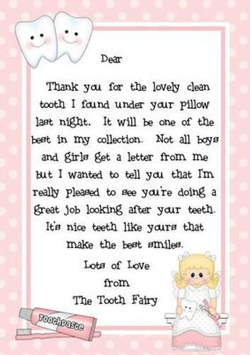 This is a photo of Mesmerizing Tooth Fairy Letter Printable