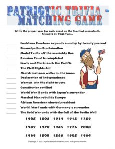 Printable American Independence Day Trivia