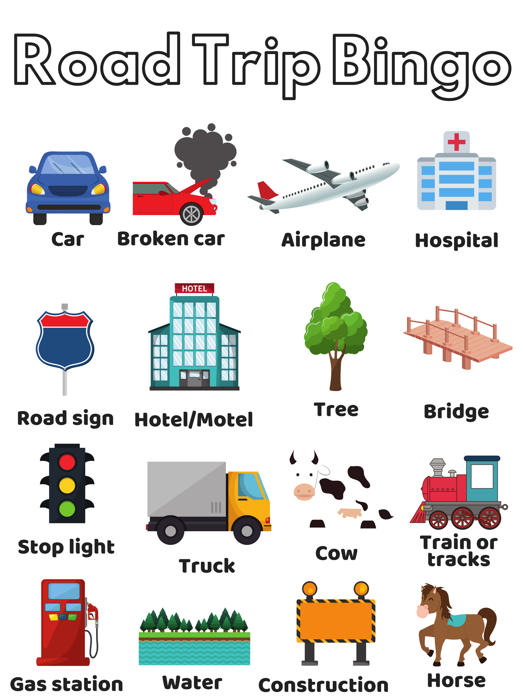 picture regarding Travel Bingo Printable known as 28 Funny Highway Getaway Bingo Templates