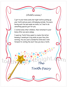 Sample Tooth Fairy Letter Monologue